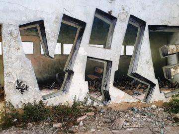 Graffiti 3D en Portugal, obra del artista Vile