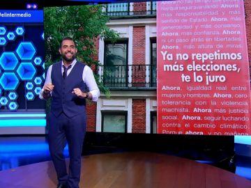 Estos son los lemas que Dani Mateo propone al PSOE para las próximas 'diez repeticiones electorales'