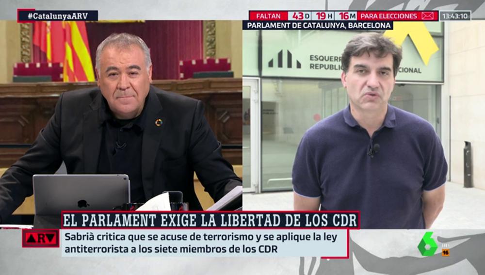 Tensión entre García Ferreras y Sergi Sabrià (ERC) tras la detención de los CDR y las acusaciones de terrorismo