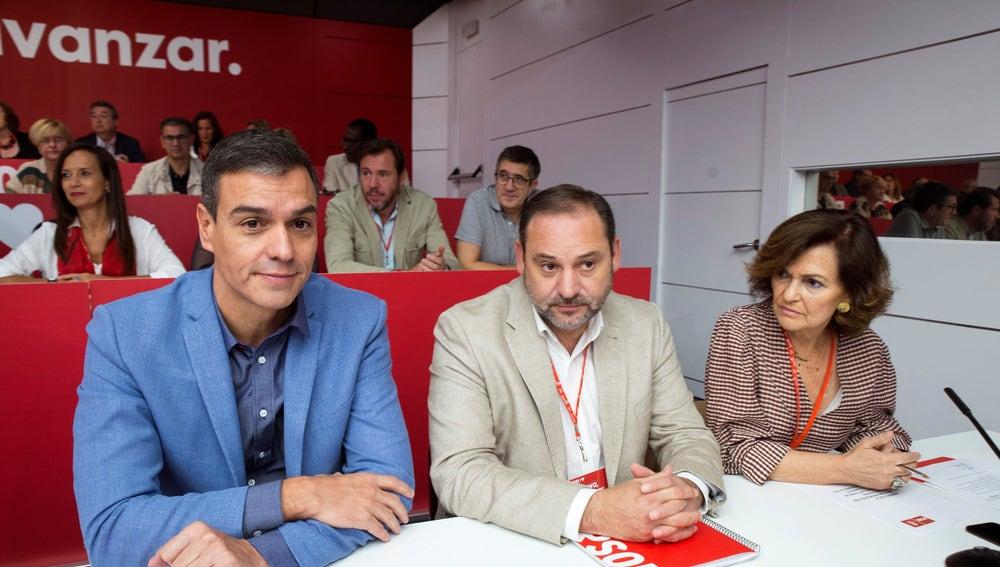 Sánchez, Ábalos y Calvo