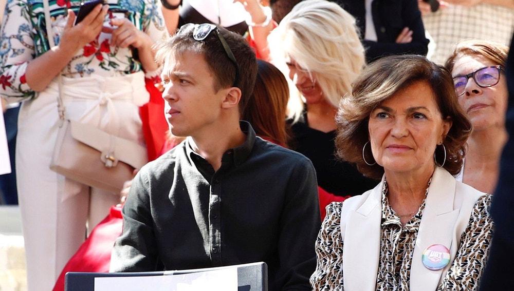 Carmen Calvo junto al candidato de Más País Iñigo Errejón