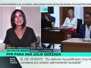 """Beatriz de Vicente, sobre la condena a Ana Julia Quezada a prisión permanente revisable: """"Difícilmente la puede tirar el Supremo"""""""