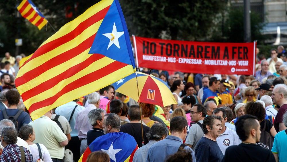 """Imagen de la manifestación convocada por ANC en Barcelona bajo el lema: """"Acabemos lo que empezamos. Ganemos la independencia"""""""