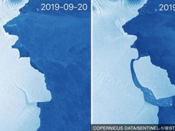 Amery antes y después de desprenderse el iceberg