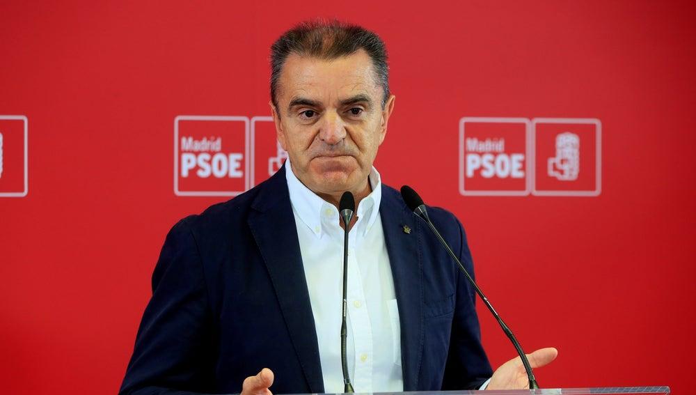 El secretario general del PSOE-M, José Manuel Franco, durante la rueda de prensa ofrecida este martes