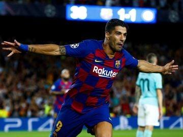 Luis Suárez, celebrando el gol de la victoria ante el Inter de Milán.