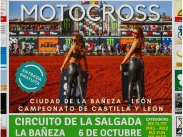 Fragmento del cartel de la carrera de motocross en La Bañeza, León.
