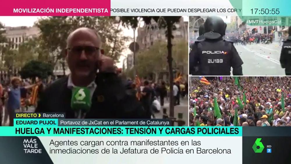 """Jordi Pujol: """"No olviden la imagen cívica y radicalmente democrática que se está dando en el paseo de Gràcia"""""""