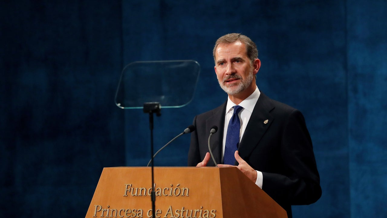 El rey Felipe, durante su discurso en los Premios Princesa de Asturias