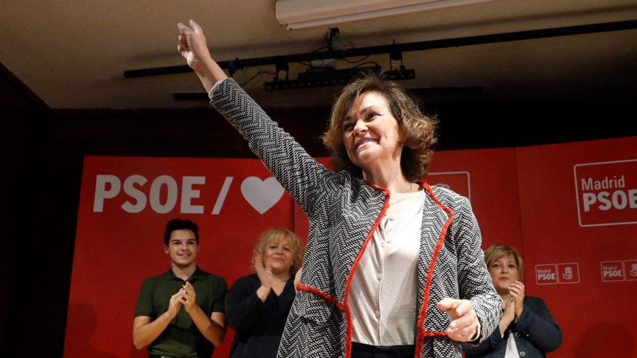 Carmen Calvo en un acto del PSOE