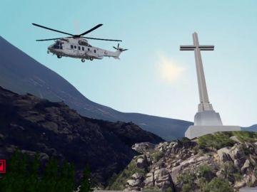 La exhumación de Franco, en 3D: ARV recrea el traslado en helicóptero