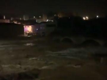 El río Francolí desbordado a su paso por Montblanc