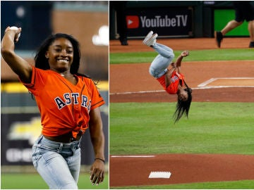 Simone Biles y su espectacular lanzamiento en el partido de los Astros