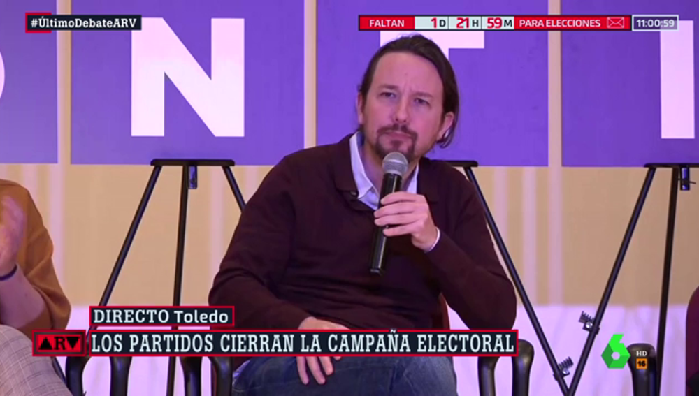 """Iglesias carga contra Sánchez en el último día de campaña: """"Usted mira a la derecha"""""""