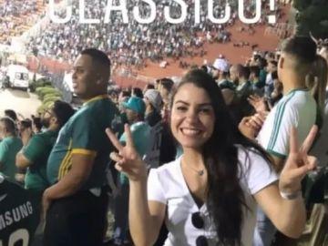 Fotografía en Instagram de la hincha de Corinthians en la tribuna del Palmeiras