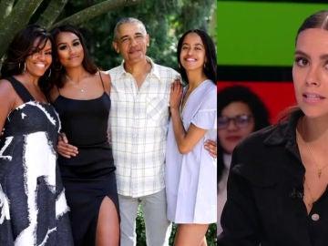 Obama con su familia a la izquierda y Pedroche a la derecha
