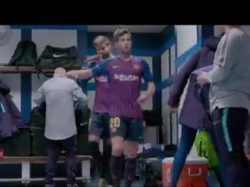 Sergi Roberto en el vestuario del Santiago Bernabéu
