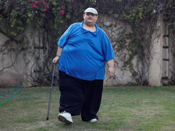 Juan Pedro Franco, vuelve a caminar tras perder peso.