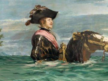 Montaje de la obra 'Felipe VI a caballo' de Velázquez para la campaña.