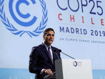 Pedro Sánchez durante su intervención en la ceremonia de apertura
