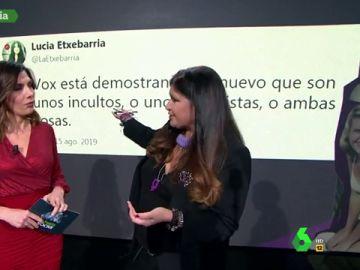 Lucía Etxebarría con Verónica Sanz en laSexta Noche