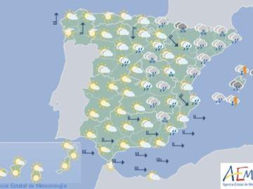 Mapa meteorológico de la AEMET para el 17 de diciembre