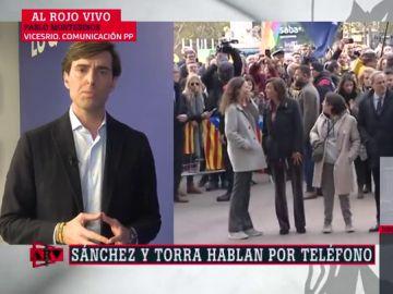 """Montesinos (PP) tacha la llamada de Sánchez a Torra de """"decepcionante"""": """"Mostramos nuestra preocupación"""""""