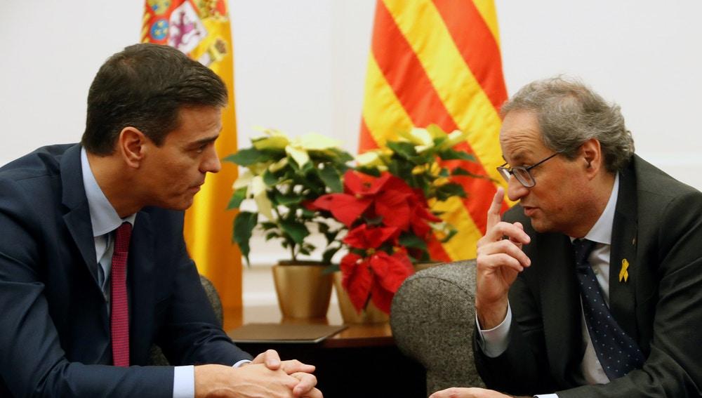 Pedro Sánchez y Quim Torra, en una pasada reunión