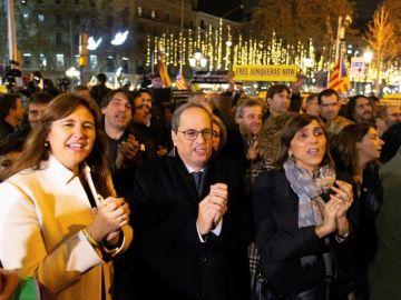 El independentismo se concentra ante la delegación de la UE tras las sentencias