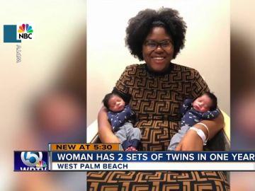 Imagen de madre con sus bebés gemelos