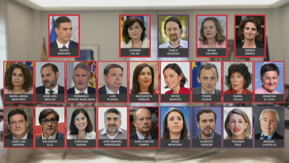 Imagen de los ministros de Pedro Sánchez