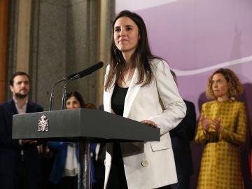 Irene Montero, durante su primer discurso como ministra