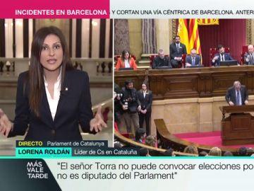 """Lorena Roldán (Cs) pide elecciones en Cataluña: """"Es urgente que el Govern reconozca que ha llegado al final del camino"""""""