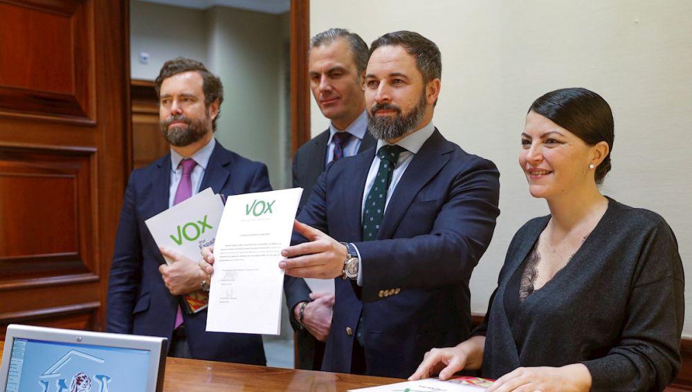 Santiago Abascal, Iván Espinosa de los Monteros, Javier Ortega Smith y Macarena Olona, de Vox