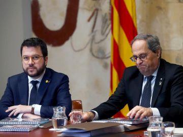 Pere Aragonès y Quim Torra en una reunión del Govern