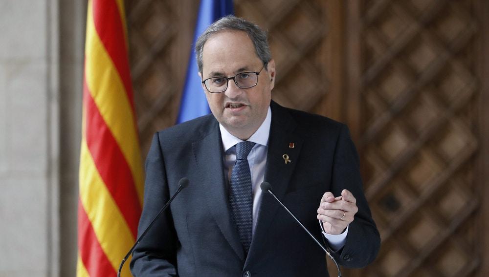 El presidente de la Generalitat, Quim Torra, durante la declaración institucional
