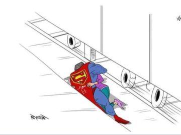 Uno de los dibujos de las redes sociales que muestran la escena en la que el padre salva a su hija.