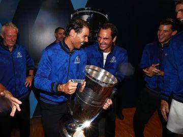 Rafael Nadal y Roger Federer en la Laver Cup