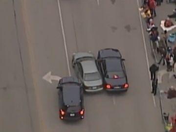 Imagen de la persecución durante la celebración de los Chiefs por la Super Bowl