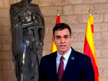 Pedro Sánchez, tras su reunión con Quim Torra en el Palau de la Generalitat