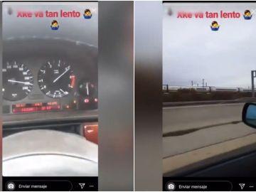 Un conductor se graba a 220 kilómetros por hora