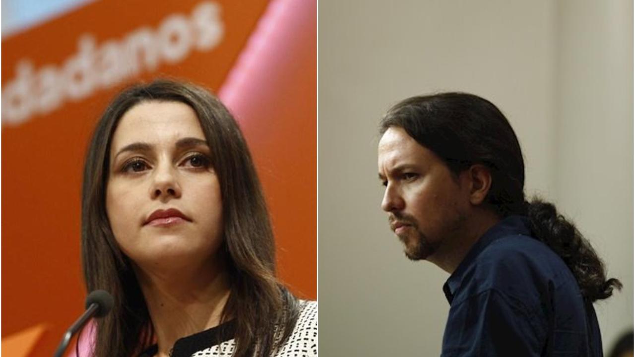 Inés Arrimadas, portavoz de Ciudadanos, y Pablo Iglesias, líder de Podemos