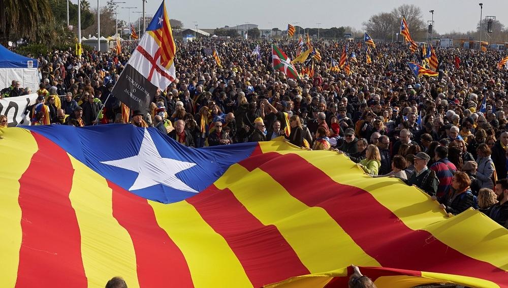 Imagen de independentistas en Perpignan