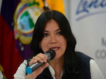 La ministra de Salud de Ecuador, Catalina Andramuño, durante una comparecencia