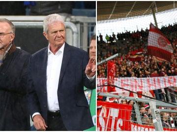 Rummenigge y Hopp, a la izquierda; a la derecha, una pancarta ofensiva de los ultras