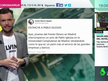 """Los tuits del 'Frente Obrero' tras el escrache a Iglesias en la Complutense: """""""