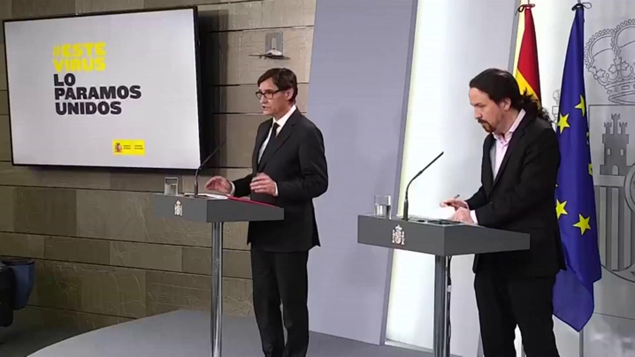 Comparecencia de Salvador Illa y Pablo Iglesias sobre la crisis del coronavirus, streaming en directo