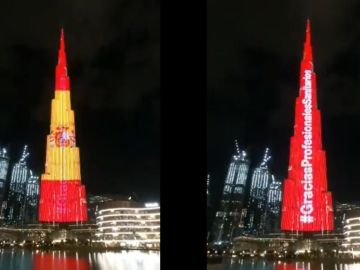 El Burj Khalifa apoya a España en la lucha contra el coronavirus