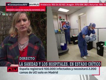 """Alda Recas, presidenta de la Asociación Madrileña de Enfermería: """"Los que estamos en primera línea exigimos que nos cuiden"""""""