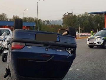 Estado en el que quedó el coche tras saltarse el control